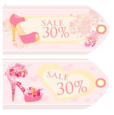 Price Tags With shoes vintage set — Stock Photo