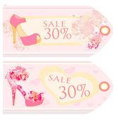 Etiquetas de precio con set vintage zapatos — Foto de Stock