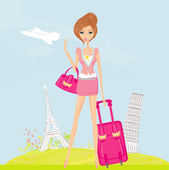 Beauty travel girl with baggage — Stock Photo