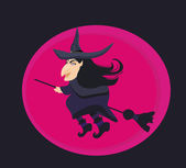 Cartoon wicked witch flying on a broomstick — Stockfoto