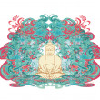 Vector of Chinese Traditional Artistic Buddhism Pattern — Stock Photo