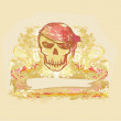 Skull Pirate - retro card — Stock Photo #9671004