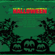 Broken halloween pumpkin on grunge green background vector illustration - Stockfoto