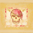 Skull Pirate - retro card - Stock fotografie