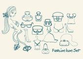 Moda shopping set di icone doodle — Foto Stock