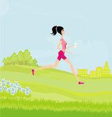 Jogging girl in summer — Stock Photo