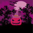 Vector Halloween background with pumpkin and bat. Abstract Classical autumn card with Place for your text. - Zdjęcie stockowe