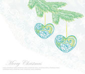Christmas background. Christmas branch and ball in form heart. — Stock Photo