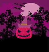 Vector Halloween background with pumpkin and bat. Abstract Classical autumn card with Place for your text. — Foto de Stock