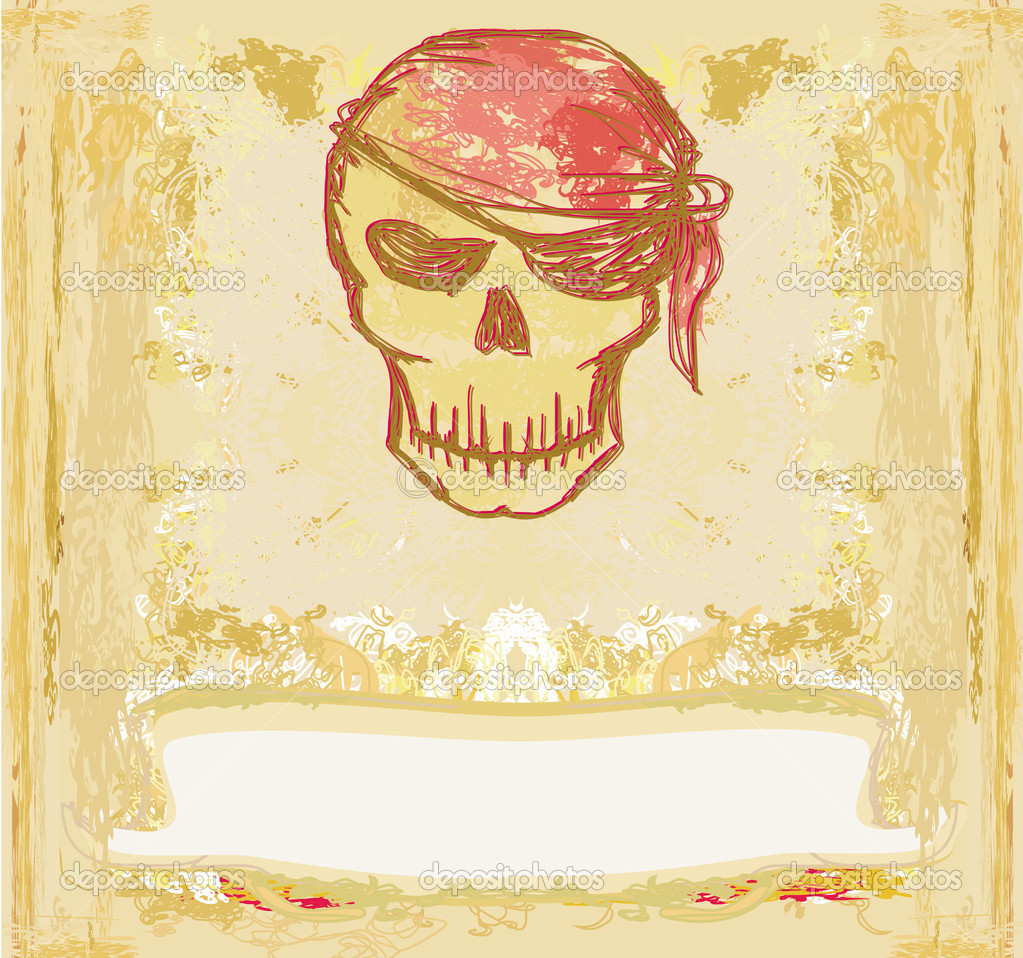 Skull Pirate - retro grunge card   Stock Photo #9689862