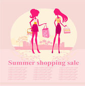 Fashion silhouettes girls Shopping in the city — Stock Photo