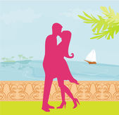 Silhouette couple on tropical beach — Foto Stock
