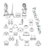Paris moda set doodles — Stok fotoğraf