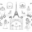 Paris doodles set — Stock Photo