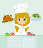 Beautiful girl cooking — Stock Photo