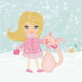 冬季的女孩和她的猫 — 图库照片