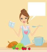 Krásná dáma, vaření — Stock fotografie