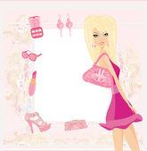 ファッションの女の子のショッピング カード — ストック写真