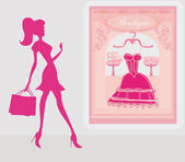şehirde alışveriş siluetleri kız moda — Stok fotoğraf