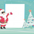 Merry Christmas Greeting With Santa Toasting By A Tree - vector - Stock Photo