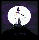 Witch flying on a broom in moonlight. — Stock Photo