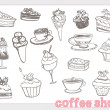 Sweet dessert coffee doodle background — Stock Photo