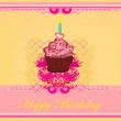 Illustration of cute retro cupcakes card - Happy Birthday Card — Stock Photo #9773502