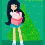 krásná dívka s darem box - vánoční pohlednice — Stock fotografie