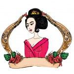 Stylized vector illustration of a beautiful geisha girl — Stock Photo