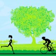 Silhouette of marathon runner and cyclist race — Stock Photo