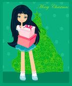 Linda menina com caixa de presente - cartão postal de natal — Foto Stock