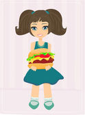 Lief meisje eten van een hamburger — Stockfoto