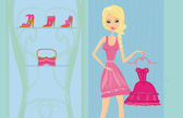 Elegant shopping woman illustration — Stock Vector