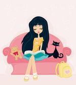 Teen flicka läsa en bok — Stockvektor