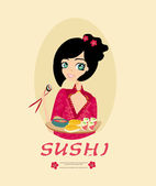 Sweet Asian girl enjoy sushi — Stock Vector