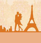 Coppia romantica a baciare vicino alla torre eiffel di Parigi. carta retrò. — Vettoriale Stock