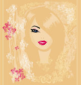 Abstract Beautiful Woman Portrait - retro card — Stock Vector