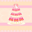 Wedding cake card design — Stockvectorbeeld