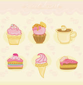 Sweet dessert set — Stock Vector