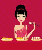 Beautiful Asian girl enjoy sushi - menu template — Stock Vector