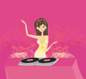 Image of pretty young DJ — Stock Vector