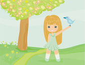 Sweet Spring , little girl with a bird in hand — Stock Vector