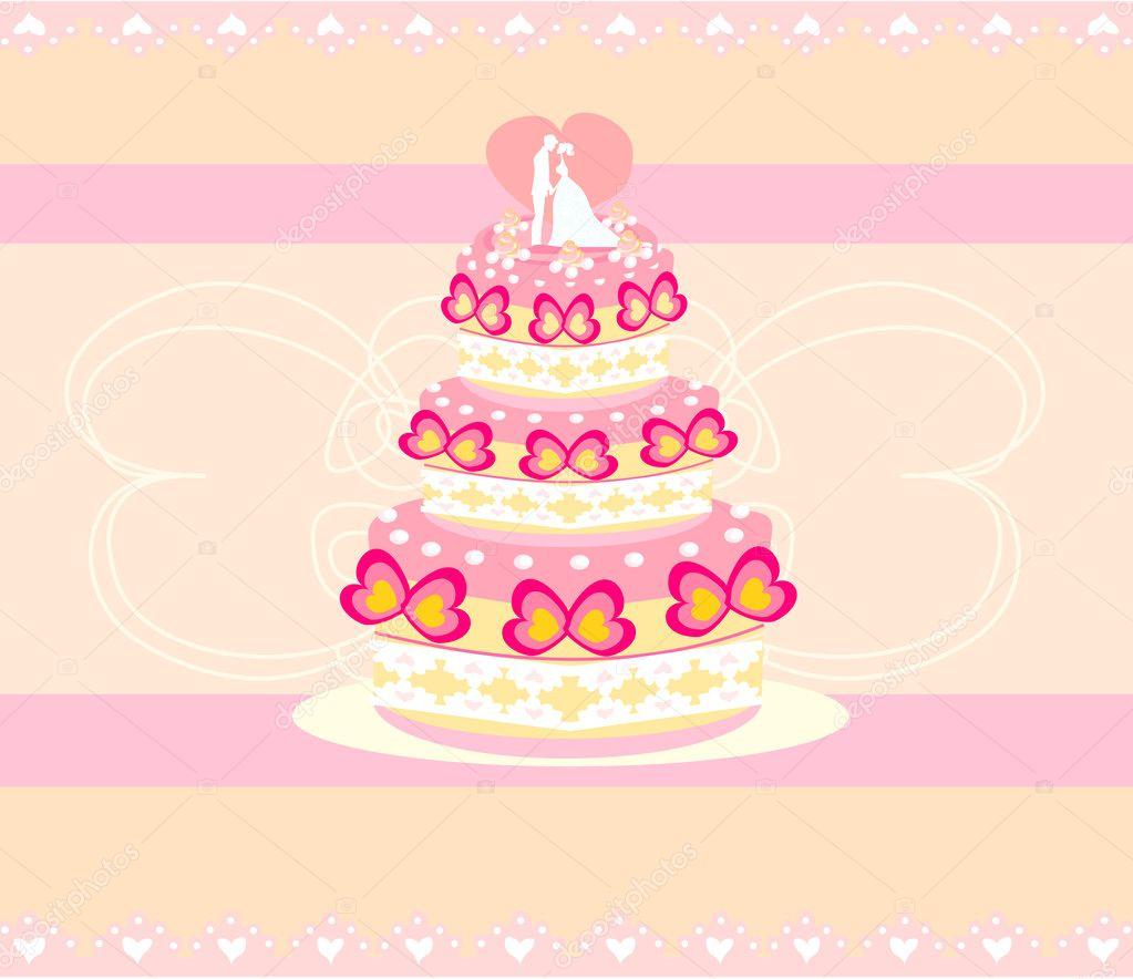 婚礼蛋糕卡设计 — 图库矢量图像08