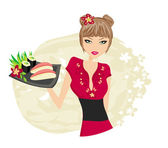 Beautiful Asian girl enjoy sushi - menu template — Stock Vector