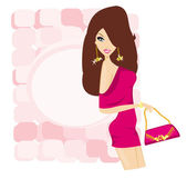 Glamour girl with shopping bag — Stock Vector