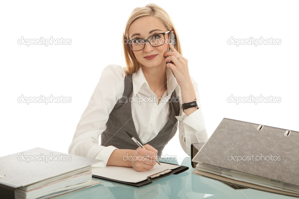 Business woman with folder on desk workin isolated on white background — Photo #10458177