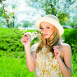 Beautiful young girl happy in summer outdoor — Stock Photo