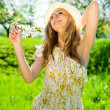 Beautiful young girl happy in summer outdoor — Stock Photo #10492279