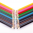 Multi colored pencils isolated on white background copyspace — Stock Photo