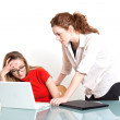 Stock Photo: Two business woman are discussing about a problem at work